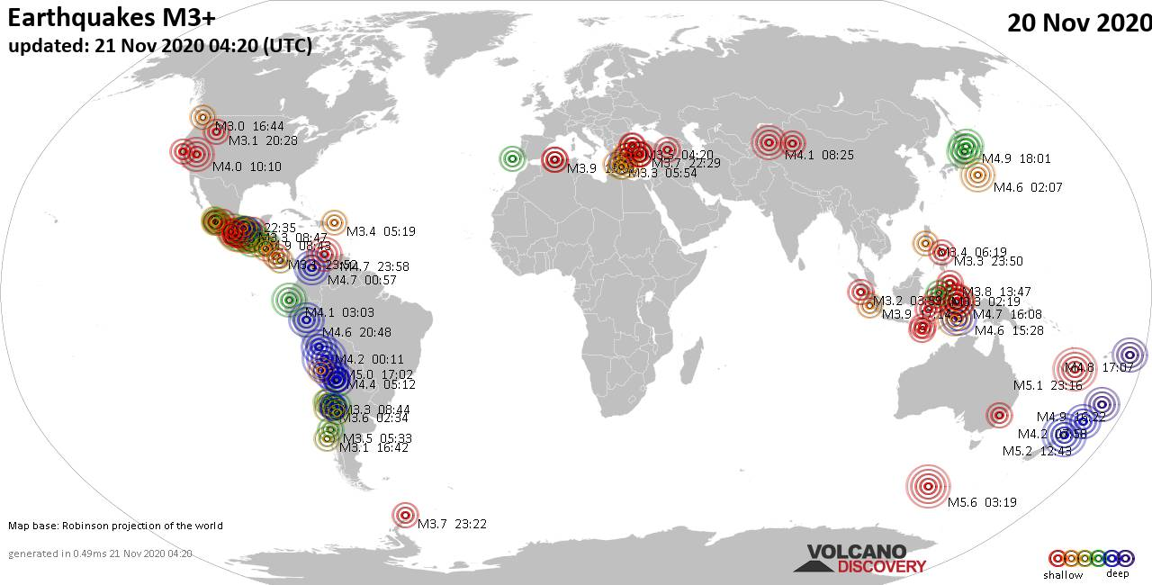 Worldwide earthquakes above magnitude 3 during the past 24 hours on 21 Nov 2020