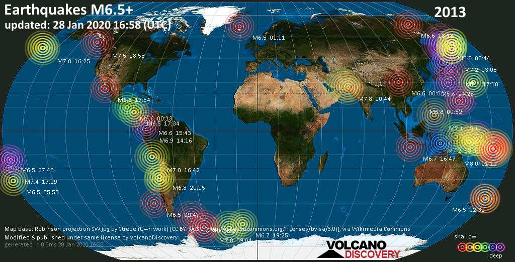 World map showing earthquakes above magnitude 6.5 during 2013