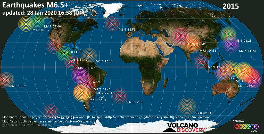 World map showing earthquakes above magnitude 6.5 during 2015