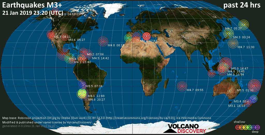 World map showing earthquakes above magnitude 3 during the past 24 hours on 21 Jan 2019