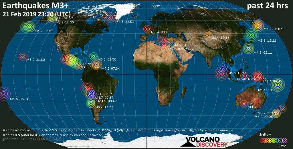 World map showing earthquakes above magnitude 3 during the past 24 hours on 21 Feb 2019