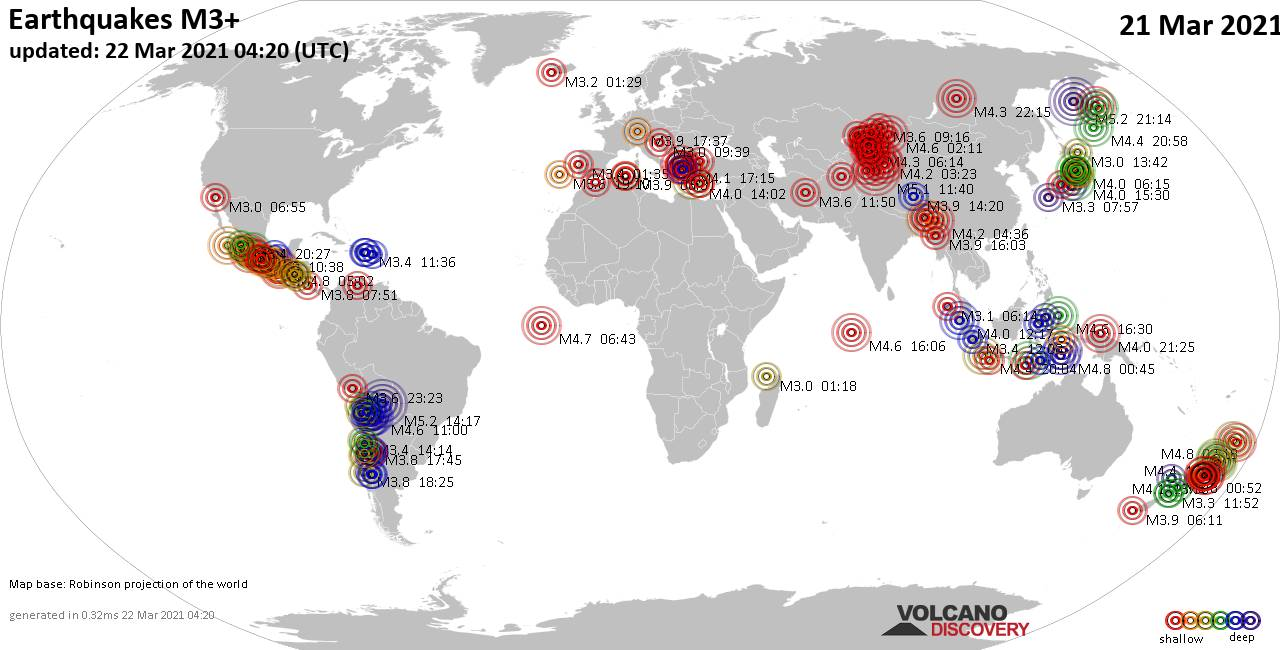 Worldwide earthquakes above magnitude 3 during the past 24 hours on 22 Mar 2021