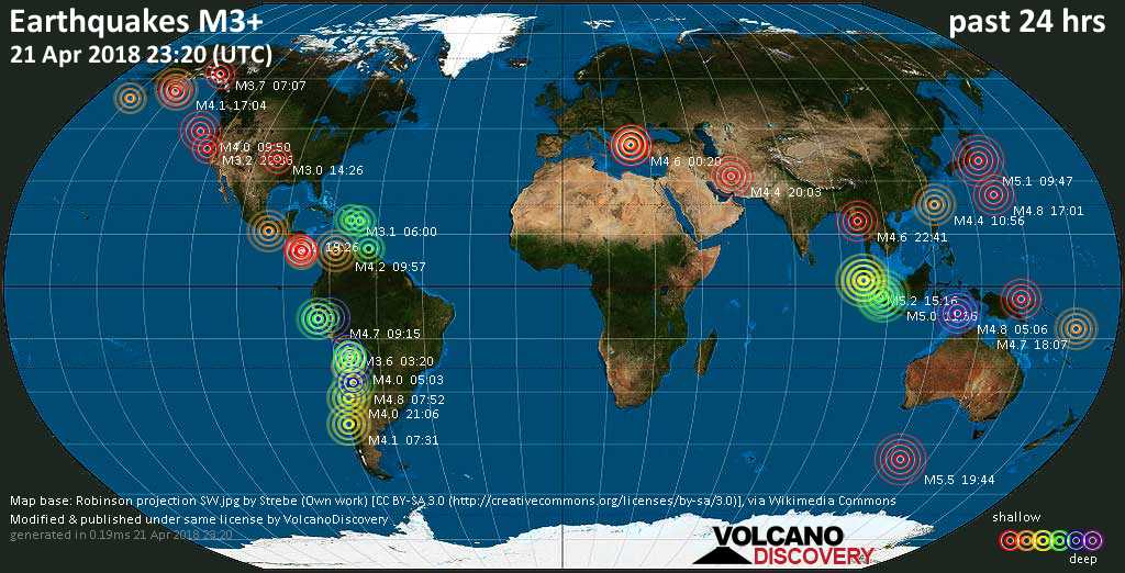 World map showing earthquakes above magnitude 3 during the past 24 hours on 21 Apr 2018