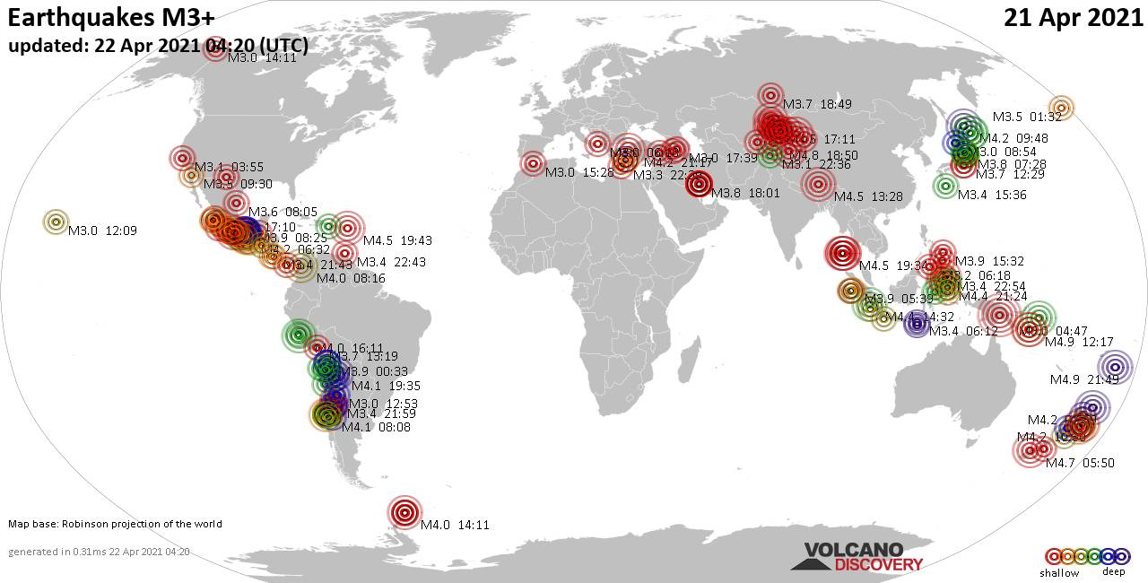 Worldwide earthquakes above magnitude 3 during the past 24 hours on 22 Apr 2021