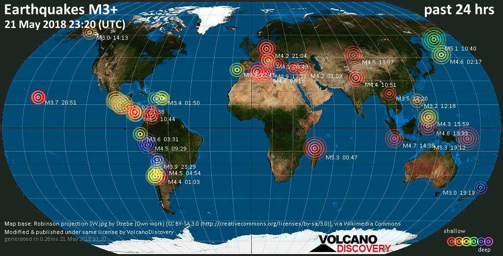 World map showing earthquakes above magnitude 3 during the past 24 hours on 21 May 2018