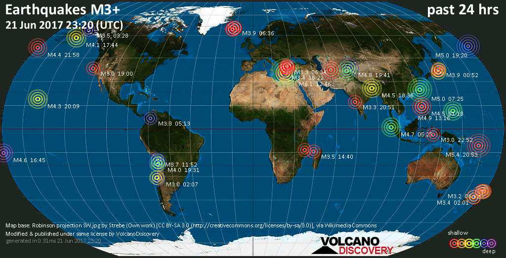 World map showing earthquakes above magnitude 3 during the past 24 hours on 21 Jun 2017