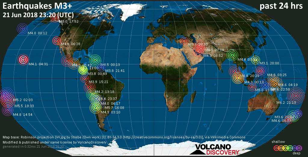 World map showing earthquakes above magnitude 3 during the past 24 hours on 21 Jun 2018