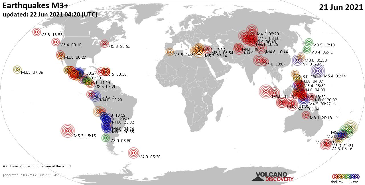 Worldwide earthquakes above magnitude 3 during the past 24 hours on 21 Jun 2021