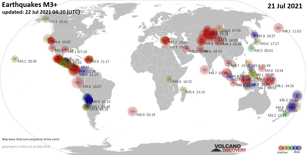 Worldwide earthquakes above magnitude 3 during the past 24 hours on 22 Jul 2021