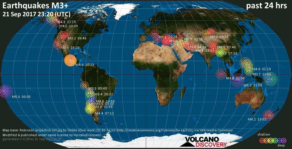 World map showing earthquakes above magnitude 3 during the past 24 hours on 21 Sep 2017