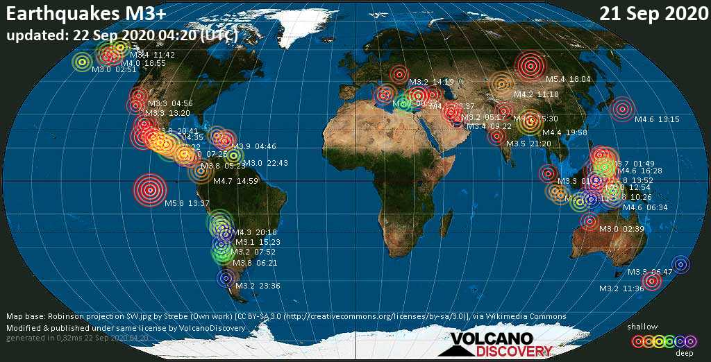 Worldwide earthquakes above magnitude 3 during the past 24 hours on 22 Sep 2020