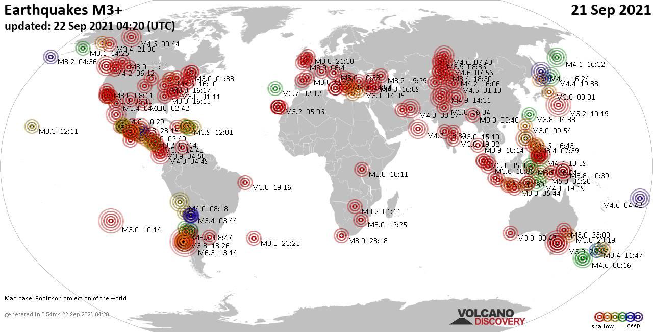 Weltkarte mit Erdbeben über Magnitude 3 während den letzten 24 Stunden past 24 hours am 21. September 2021