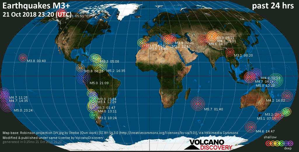 World map showing earthquakes above magnitude 3 during the past 24 hours on 21 Oct 2018
