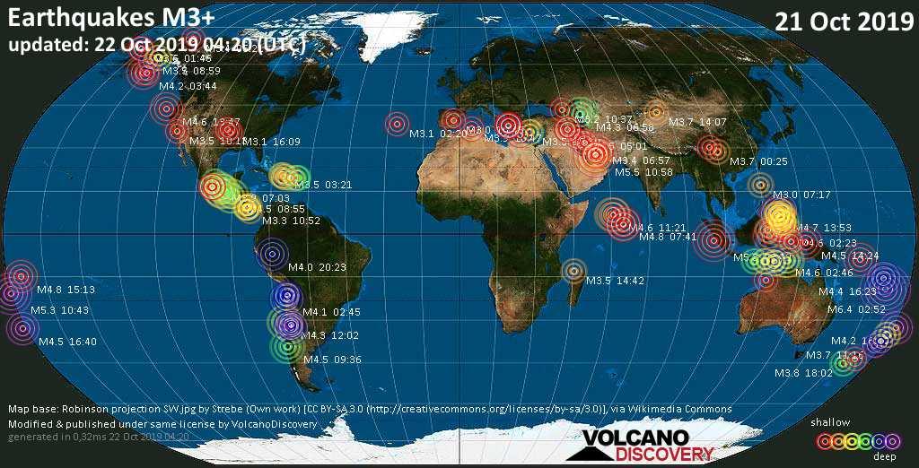 Mapa mundial que muestra terremotos de magnitud 3 en las últimas 24 horas 22 octubre 2019