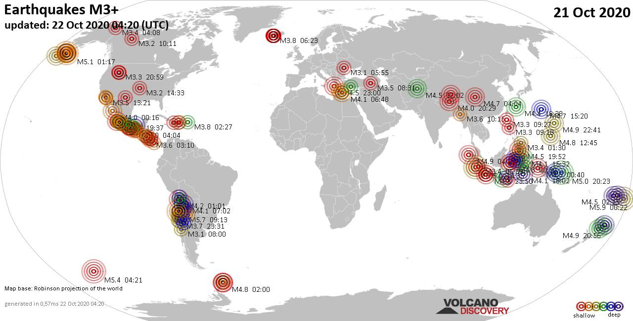 Worldwide earthquakes above magnitude 3 during the past 24 hours on 22 Oct 2020
