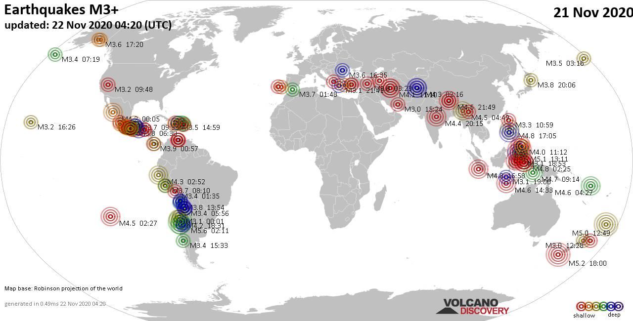 Weltkarte mit Erdbeben über Magnitude 3 während den letzten 24 Stunden past 24 hours am 22. November 2020
