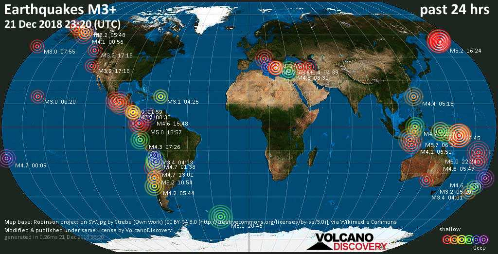 World map showing earthquakes above magnitude 3 during the past 24 hours on 21 Dec 2018
