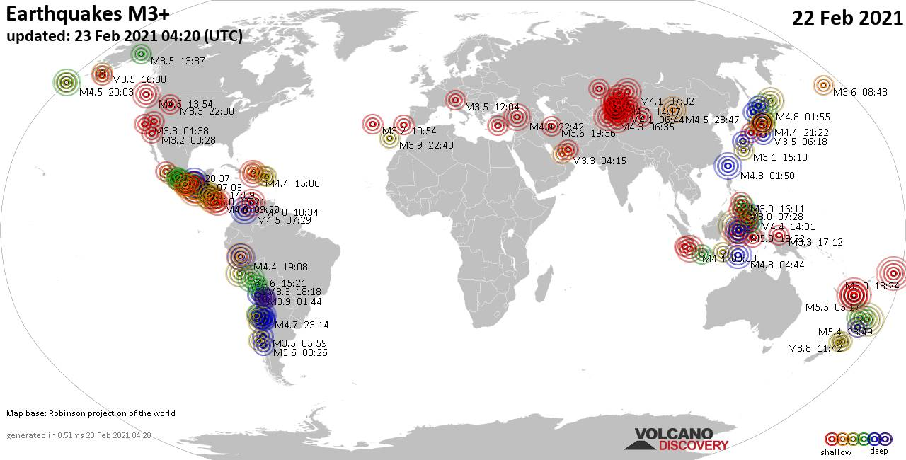Worldwide earthquakes above magnitude 3 during the past 24 hours on 23 Feb 2021