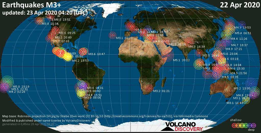 World map showing earthquakes above magnitude 3 during the past 24 hours on 23 Apr 2020