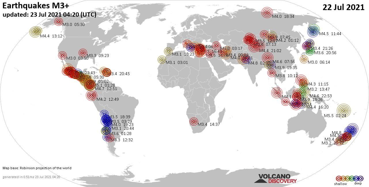 Worldwide earthquakes above magnitude 3 during the past 24 hours on 23 Jul 2021
