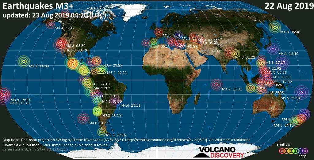 World map showing earthquakes above magnitude 3 during the past 24 hours on 23 Aug 2019