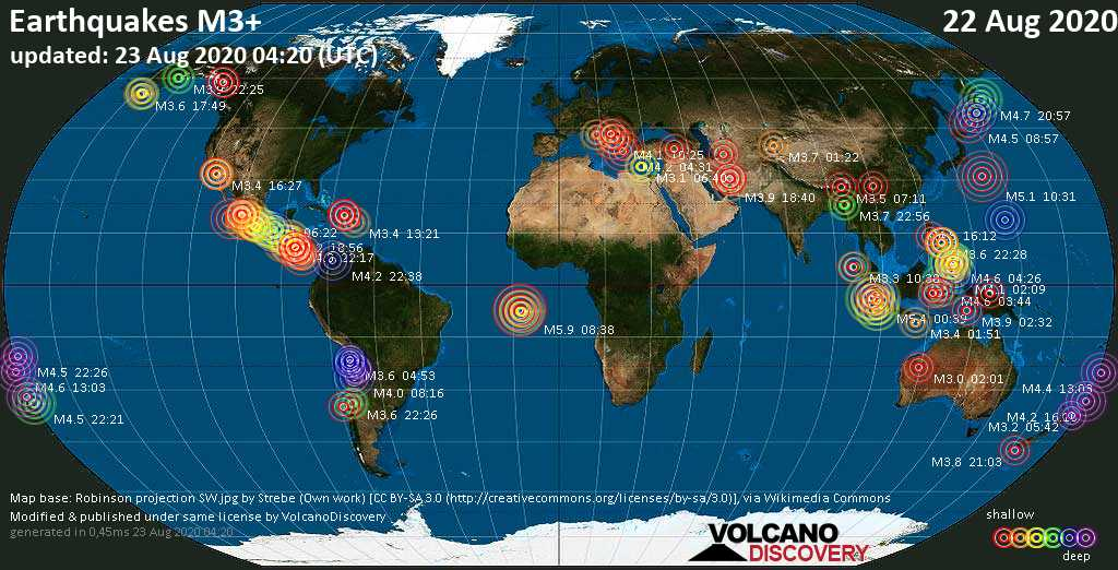 Worldwide earthquakes above magnitude 3 during the past 24 hours on 22 Aug 2020