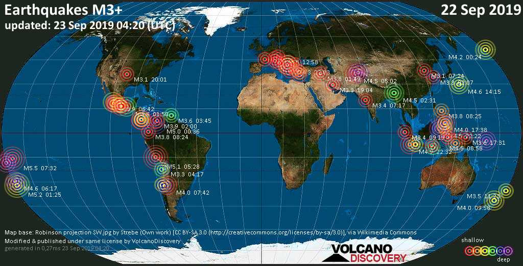 World map showing earthquakes above magnitude 3 during the past 24 hours on 23 Sep 2019