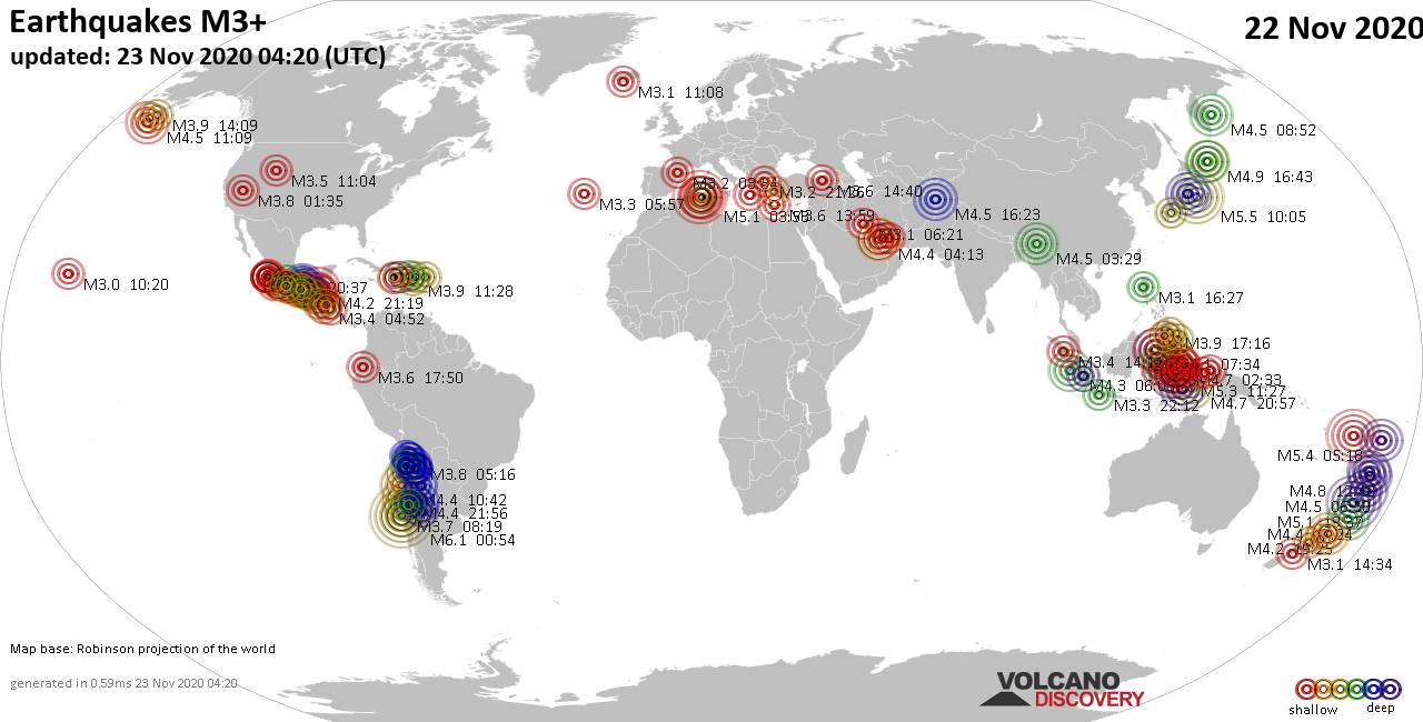 Worldwide earthquakes above magnitude 3 during the past 24 hours on 23 Nov 2020