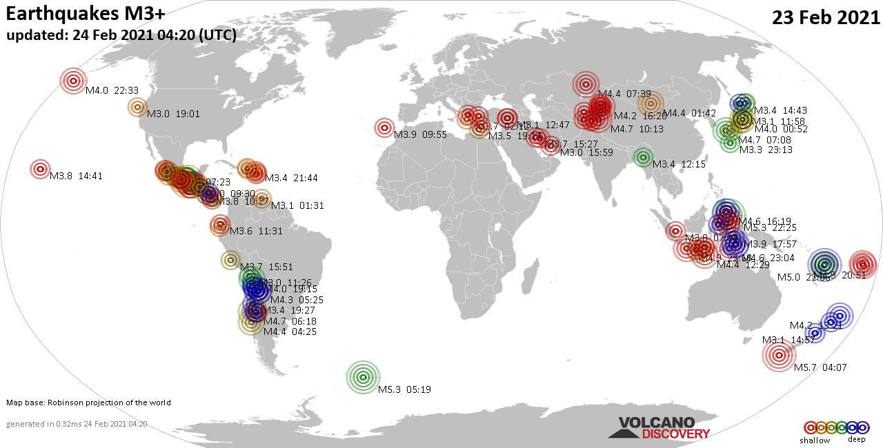 Worldwide earthquakes above magnitude 3 during the past 24 hours on 24 Feb 2021
