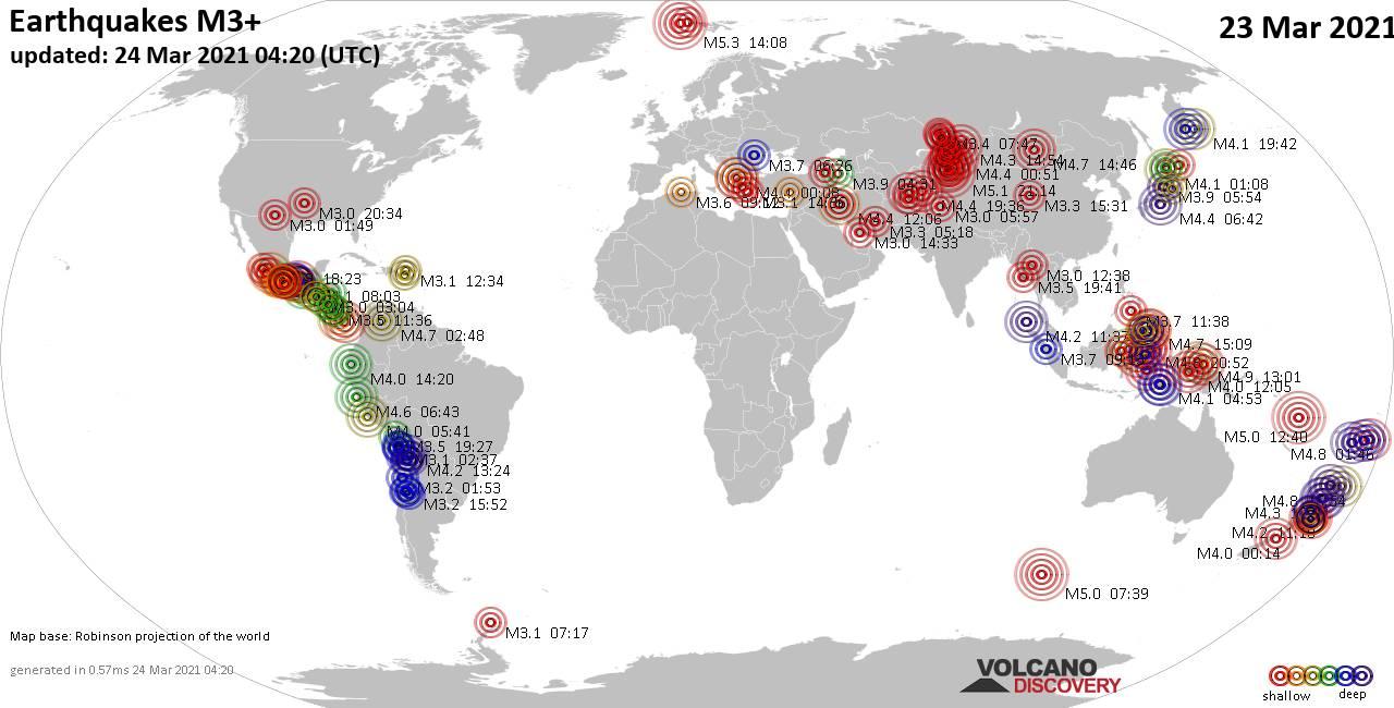 Lebih dari 3 gempa bumi global dalam 24 jam terakhir pada 23 Maret 2021