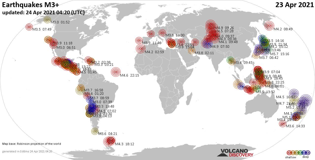 Worldwide earthquakes above magnitude 3 during the past 24 hours on 23 Apr 2021