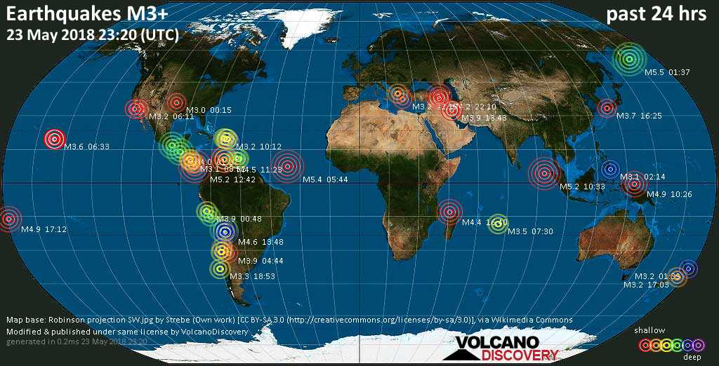 World map showing earthquakes above magnitude 3 during the past 24 hours on 23 May 2018