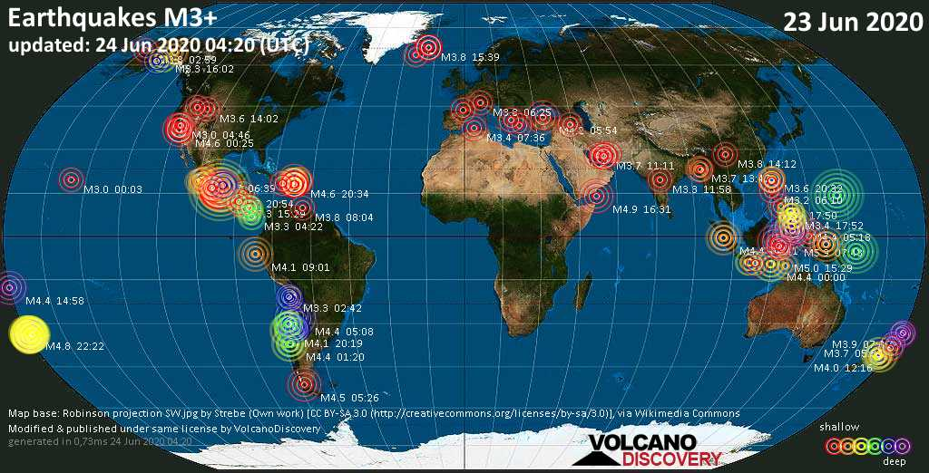 World map showing earthquakes above magnitude 3 during the past 24 hours on 24 Jun 2020