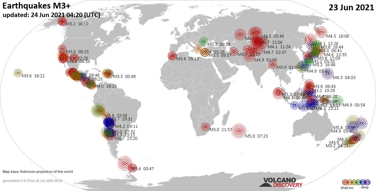 Worldwide earthquakes above magnitude 3 during the past 24 hours on 23 Jun 2021