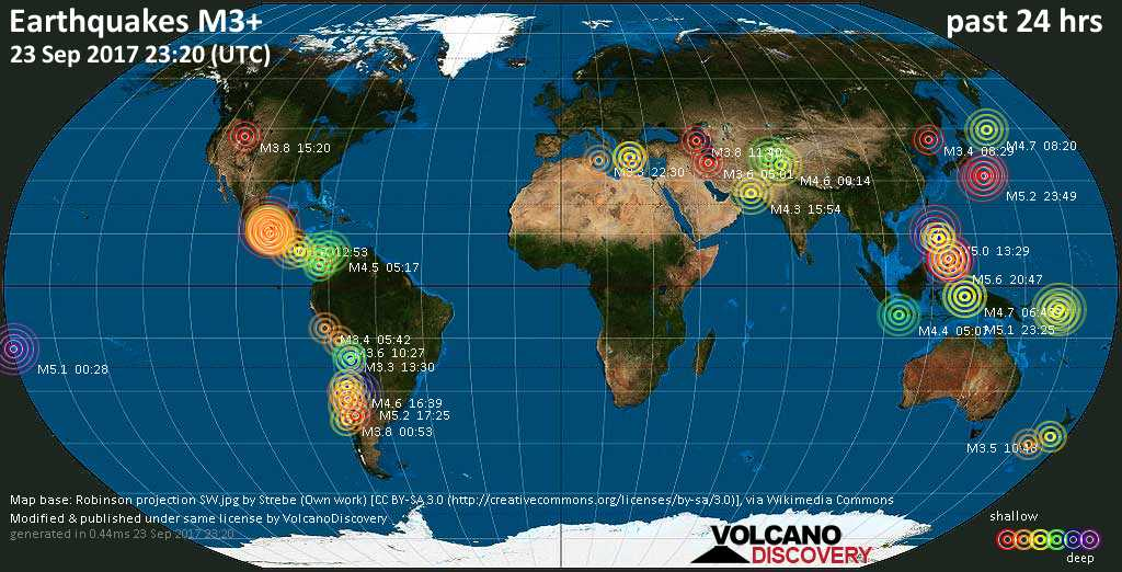 World map showing earthquakes above magnitude 3 during the past 24 hours on 23 Sep 2017