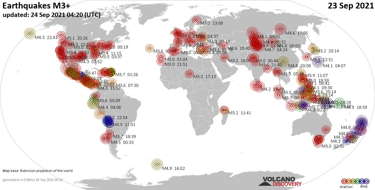 Worldwide earthquakes above magnitude 3 during the past 24 hours on 23 Sep 2021
