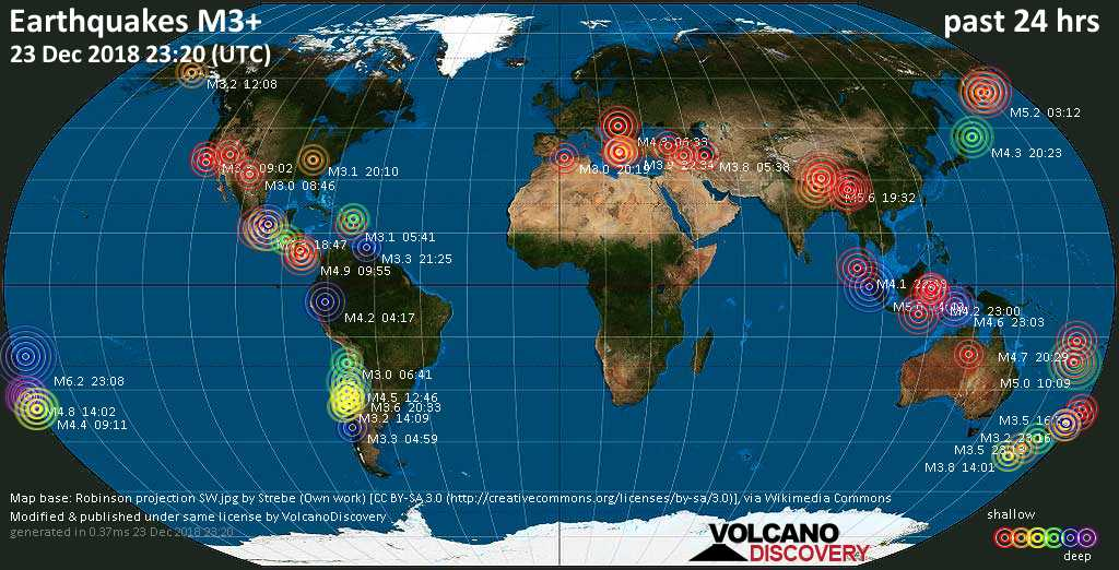 World map showing earthquakes above magnitude 3 during the past 24 hours on 23 Dec 2018