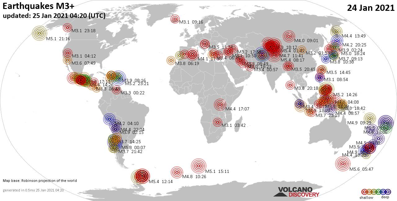 Worldwide earthquakes above magnitude 3 during the past 24 hours on 25 Jan 2021
