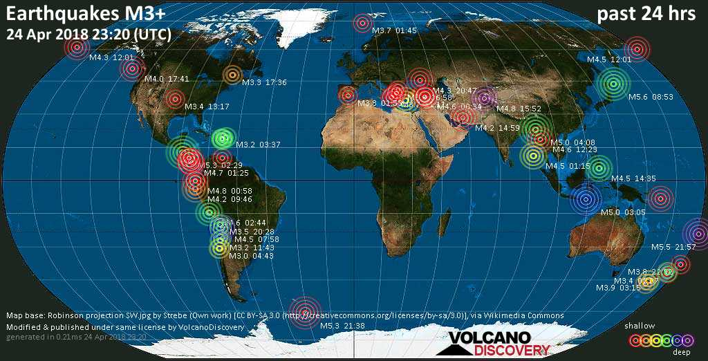 World map showing earthquakes above magnitude 3 during the past 24 hours on 24 Apr 2018