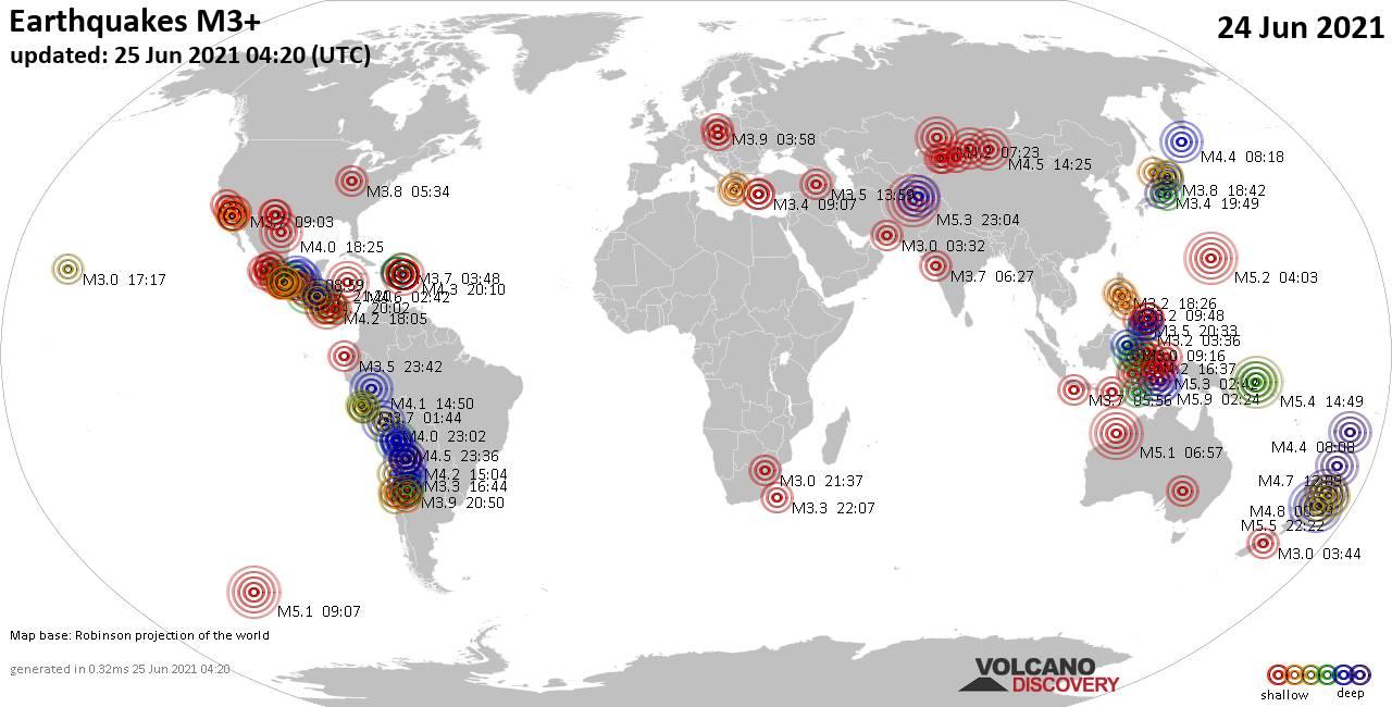 Weltkarte mit Erdbeben über Magnitude 3 während den letzten 24 Stunden past 24 hours am 25. Juni 2021