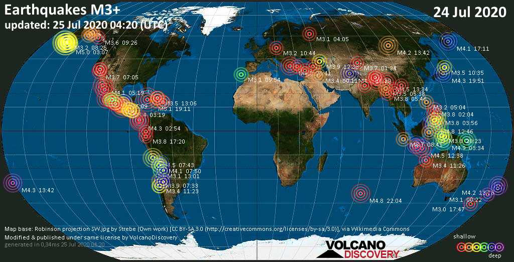 World map showing earthquakes above magnitude 3 during the past 24 hours on 25 Jul 2020