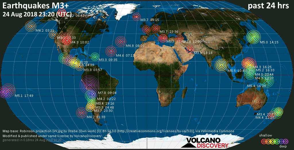 World map showing earthquakes above magnitude 3 during the past 24 hours on 24 Aug 2018