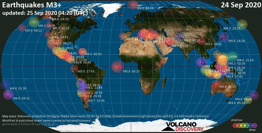 Worldwide earthquakes above magnitude 3 during the past 24 hours on 25 Sep 2020