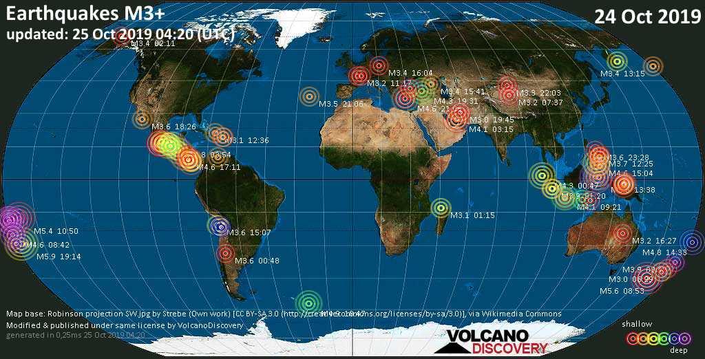 Mapa mundial que muestra terremotos de magnitud 3 en las últimas 24 horas 25 octubre 2019