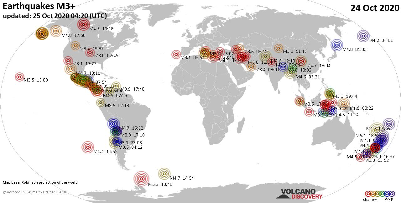 Worldwide earthquakes above magnitude 3 during the past 24 hours on 24 Oct 2020