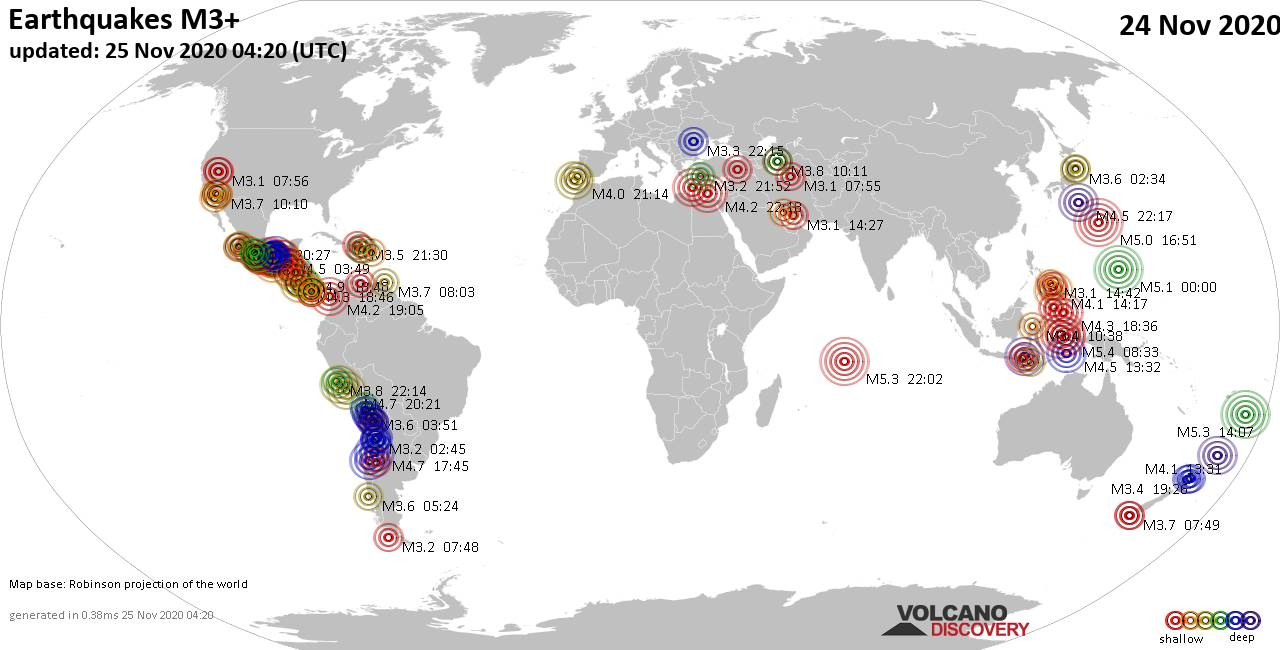 Worldwide earthquakes above magnitude 3 during the past 24 hours on 25 Nov 2020