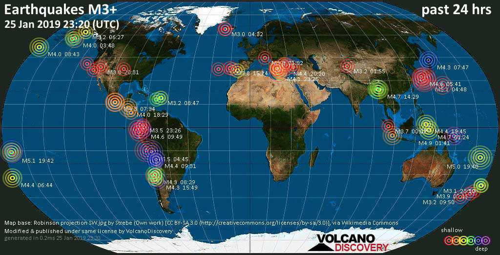 World map showing earthquakes above magnitude 3 during the past 24 hours on 25 Jan 2019