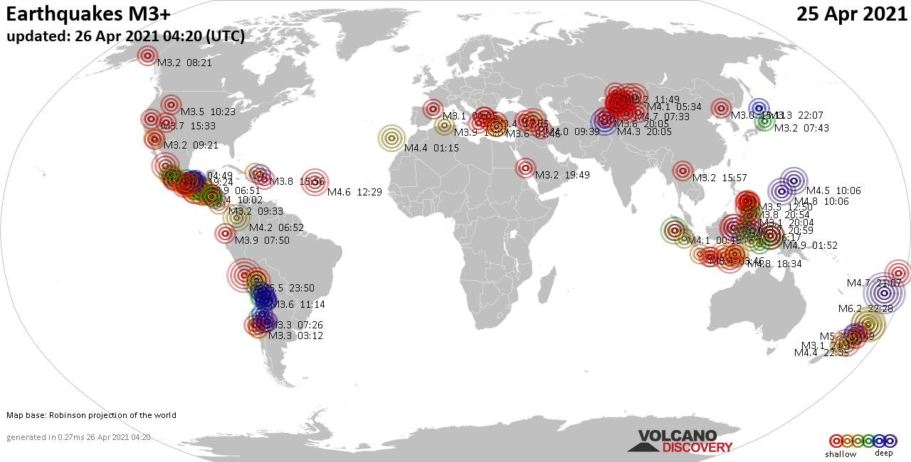 Worldwide earthquakes above magnitude 3 during the past 24 hours on 26 Apr 2021