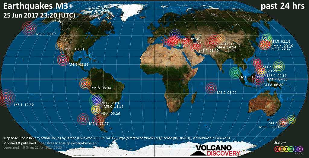 World map showing earthquakes above magnitude 3 during the past 24 hours on 25 Jun 2017