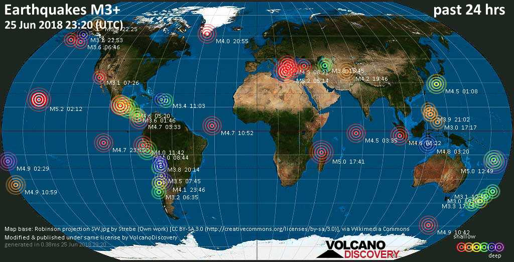 World map showing earthquakes above magnitude 3 during the past 24 hours on 25 Jun 2018